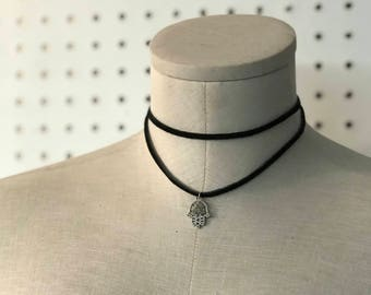 Black Suede Wrap Choker, Black suede choker, suede choker with charm, wrap necklace,double choker,women jewelry,Choker necklace,suede,choker