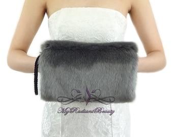 Faux Fur Hand Muff, Gray Fur Hand Warmer, Wedding Fur Muff, Bridal Fur Stole, Faux Fur Shrug, Faux Fur Wrap, Bridal Fur Muff HM108-GRAY
