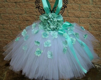 WHITE AQUA FLOWERS - White Tutu Dress -  Aqua Tutu Dress - Pageant Outfit - Flower Girl Gown - First Birthday Dress -  Baptism Gown -