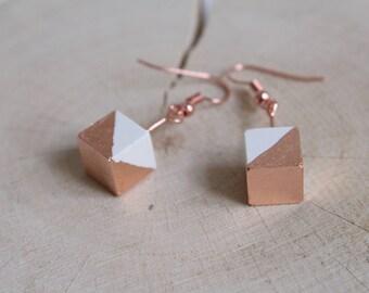 Ceramic porcelain cube GOLDY geometric Rosé gold earrings