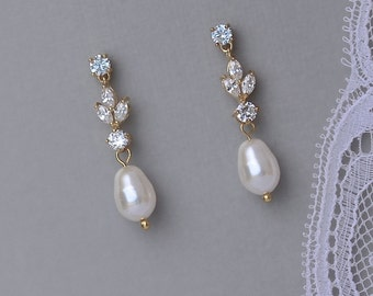 Gold Bridal Earrings, Pearl Drop Bridal Earrings, Pearl Bridal Jewelry, Wedding Earrings, ASHLEY GP