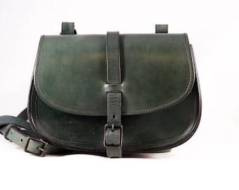 "Swedish handmade NORDISKO ""LILLIS"" leather bag - pine green"