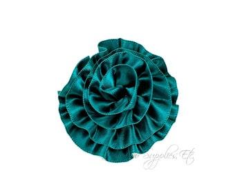 Hunter Green Rose Ruffle Silk Flowers 2 inch - Hunter Green Flowers, Hunter Green Hair Flowers, Green Silk Flower, Beige Flowers For Hair