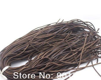 Brown leather cord flat nature, 3 mm, 65 cm