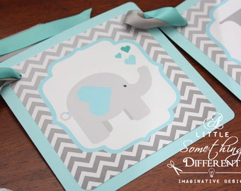 Chevron Elephant Baby Shower Decorations / Elephant Baby Shower Supplies / Elephant Baby Shower Decor / Teal and Gray