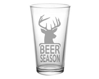 Beer Season Deer Season -Hunting Glass, Hunter Gift, Beer Gift, Deer Gift, Hunting Gift, Beer and Deer, Deer and Beer