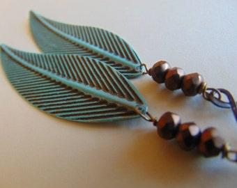 Super Sale Verdigris Leaves And Copper Earrings