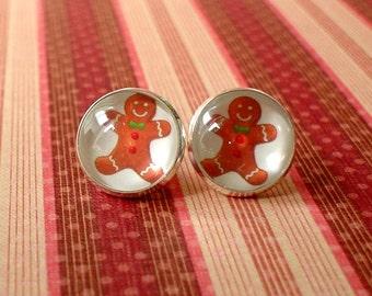 20% OFF - Christmas Gingerbread Cabochon Stud Earring,Earring Post,Cute Gift Idea