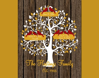 Golden Wedding Anniversary Gift, 50th Anniversary Gift, Family Tree Anniversary Gift, Anniversary Gift,  Unique Family Tree with Birds