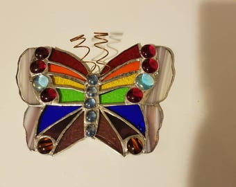 Stained glass rainbow butterfly