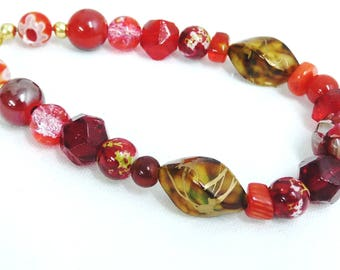 Beaded Bracelet, Lampwork Beads, Red and Gold Bracelet, Gold Plated Clasp, Bead Mix, Handmade, 8 inches long, Plus Size, Medium/Large Wrists