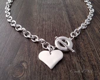 Heart charm necklace silver plated chain and toggle clasp. Thick chain necklace with sterling silver plated heart pendant and toggle clasp