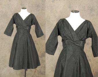 vintage 50s Dress - Black Taffeta Party Dress - 1950s Formal Cocktail Dress Sz S