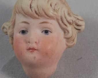 "antique german bisque porcelain dollhead, dollhouse doll , molded hair, 1.75"""