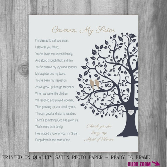 SISTER GIFT Maid Of Honor Thank You Proposal Personalized Art