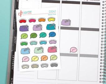 Sleep Stickers, Sleep Planner Stickers, Sleep In Stickers, Pillow Doodle, Sleep Mask - D041