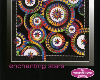 """Be Colourful Quilt Pattern - Enchanting Stars - Foundation Paper Piecing - 53"""" x 53"""" - BC034"""