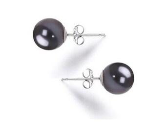 Black Pearl Earrings Studs AAAA 6mm-10mm Japanese Black Freshwater Stud Earrings Fine 925 Sterling Silver Earrings Free Shipping