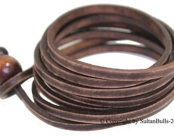 60'' SB SURFER leather wrap bracelet genuine first class leather bracelet leather cuff men's bracelet jewelry leather wristband worn brown