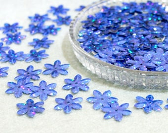 100 • 14 mm Blue Glitter Flower Sequins
