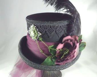 Steampunk, Steampunk Hat, Victorian Hat, Steampunk Wedding, Victorian Wedding, Burning Man Hat, Purple Steampunk Hat, Victorian Riding Hat