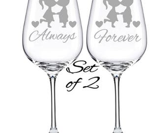 Wedding Glasses, Engagement Gift, Wedding Gift, Anniversary Gift, His and Hers, Wedding Wine Glass, Couple Gift, Just Married, Newlywed Gift