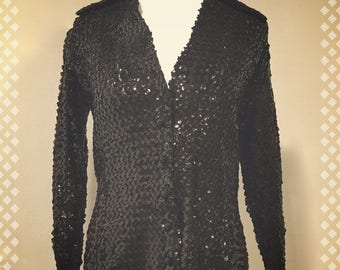 Vintage Saks Fifth Avenue Black Sequin Button-Down Shirt