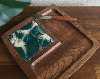 Midcentury | MCM Teak and Tile Cheeseboard with Knife for Entertaining | Hostess | Party | Bar