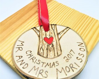 Mr and Mrs Ornament, ornaments personalized, mr & mrs ornament, married ornament, marriage ornament, wood ornament, christmas ornament