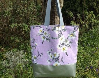 Vintage barkcloth fabric tote bag - lilac