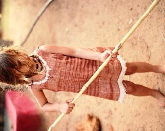 Khadi Cotton Girls Earthy Dress With frayed Edges ~