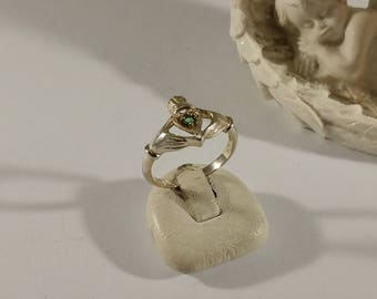19 mm Claddagh Ring silver 925 Crystal Green SR687
