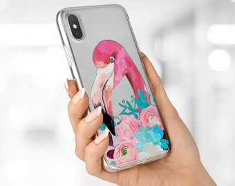 Pink Flamingo case Crystal Clear case Flamingo flower case iphone 7 Plus case iPhone 8 cover iPhone 6 cover iPhone 8 Plus case iPhone case