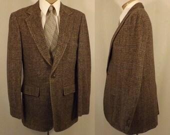 70's Hardwick Brown Herringbone Tweed Men's Sport Coat Size 38 40
