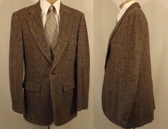 70's Hardwick Brown Herringbone Tweed Men's Sport Coat Size 38 40 jvqO4C6