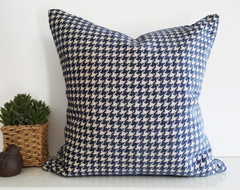 Decorative Pillows, Blue Pillows, Houndstooth Pillows, Textured Pillow, Blue Cream Pillow, Plaid Pillow, Cushion Cover, Gift for Him, 18x18