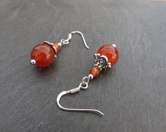 Red agate, Silver 925 ♥ ♥ fine stone earrings