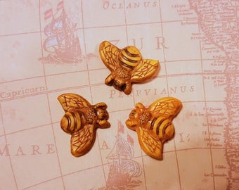 """3pc Set BEE polymer clay tiles,1"""" BY 1 1/4"""" Cabochon,mosaic tile,hand painted bees,jewelry supply,flat back bead,sewing"""