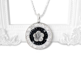 Black and White Necklace, Jet Black and Crystal Clear Swarovski Crystal Necklace, Sterling Silver Swarovski Crystal Flower Pendant Necklace
