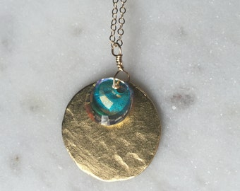 Layering Necklace, Swarovski Crystal and Gold Charm