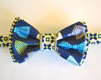 Bow tie man/woman - blue and green - pattern bow ties