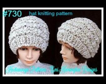 pdf KNITTING PATTERN, hat,  One Hour - One Skein hat - BEGINNER level - cable,  women, men, children, teens, adult, ladies, kids,  num 730