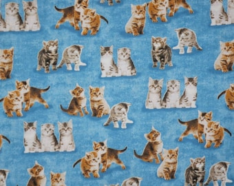 Cute Kitten Print on Blue Pure Cotton Fabric from Windham--One Yard