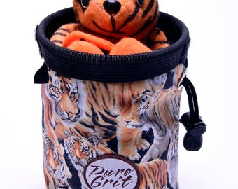 Stuffed Hanging Tiger Climbing Buddy, Chalk Bag