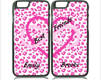 Best Friends Personalized Hot Pink Cheetah iPhone 7/7 Plus - iPhone 6/6S Plus Case - Galaxy S6 Edge - Note 4 - Mix & Match TWO CASE SET