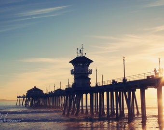 Summer Sunset at the Pier - Huntington Beach California, Sunset, Surfer, Pacific, Beach Decor, Wall Art, Beach Photography