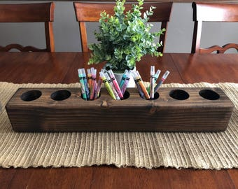 Wooden box crayon holder