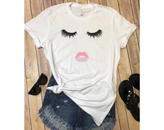 Eyelash Shirt/Eyelash and Lips Shirt/Eyelashes Shirt Women Shirt Fashion Shirt