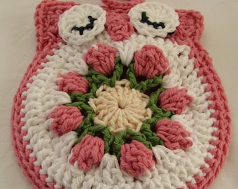 Crocheted Pot Holder 100% Cotton Yarn Double Thickness Owl Pink, Red, or Blue