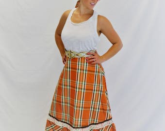 Vintage Orange Plaid and Lace Maxi Skirt with Matching Sash